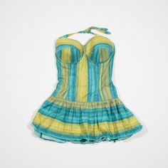 ✦ CLICK TO BUY ✦ Green and blue cotton 50s swimsuit - Costume anni '50 - Millesimè Vintage Clothing & accessories