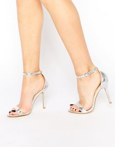 Image 1 of Glamorous Silver Patent Two Part Heeled Sandals