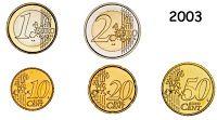 Moedas de Euro emitidas por Portugal: Moedas de circulação de 2003