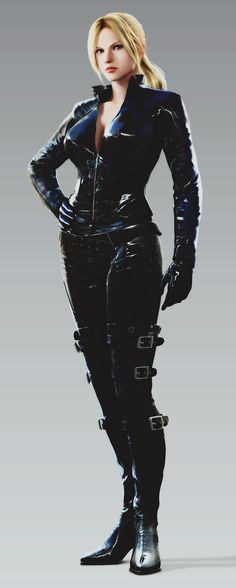 Nina Williams from Tekken. She looks like the RE 5 version of Jill. She could probably pass for Samus from the Metroid series too.