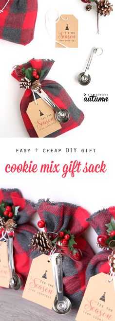 cookie mix gift sack | easy DIY Christmas gift idea - It's Always Autumn Diy Christmas Gifts For Coworkers, Diy Holiday Gifts, Christmas Gift Baskets, Handmade Christmas Gifts, Homemade Christmas, Simple Christmas, Christmas Diy, Merry Christmas, Christmas Packages