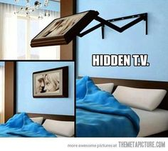 Funny pictures about Hidden TV. Oh, and cool pics about Hidden TV. Also, Hidden TV. Hidden Tv, Diy Casa, Ideas Hogar, Ideas Geniales, Wall Mounted Tv, Home And Deco, My New Room, Home Bedroom, Master Bedroom