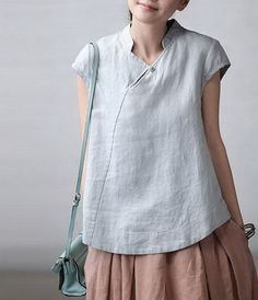 Slanting Collar Linen Shirt CustomMade Fast Shipping by zeniche Sewing Blouses, Plus Size Shirts, Inspiration Mode, Online Fashion Stores, Store Online, Linen Dresses, Linen Shirt Dress, Mode Outfits, Mode Style