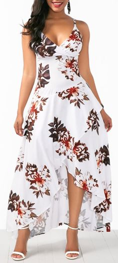 Beautiful Women Overlap Flower Print White Slip Dress , Nice for summer outfit / beach style Trendy Dresses, Women's Fashion Dresses, Sexy Dresses, Beautiful Dresses, Dress Outfits, Casual Dresses, Elegant Summer Dresses, Lace Dresses, Spring Dresses
