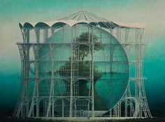 【空想建築】実在しない静かに佇む建造物を描いた野又穫の絵画作品