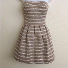 "NWT 2B BEBE STRAPLESS DRESS NWT 2B BEBE STRAPLESS DRESS...""Jainie"" stripe A-Line Fit & Flare Beige Dress Dresses Strapless"