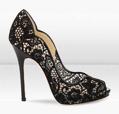 Jimmy Choo Lace Patent Platform Peep Toe Sandal BLack