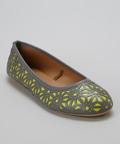 Look what I found on #zulily! Gray & Lime Perforated Flat by VeeVee #zulilyfinds