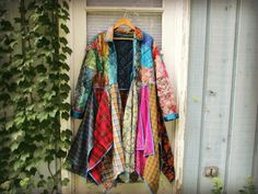 OOAK Silk Patchwork Plaid Flannel Bohemian Gypsy Coat// Multi Colored Duster// Large XL// Upcycled// emmevielle by emmevielle on Etsy https://www.etsy.com/listing/246291638/ooak-silk-patchwork-plaid-flannel