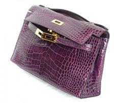 Hermes Kelly Mini Pochette Violet Croc Shiny Ghw