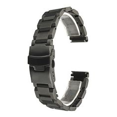 BABAN 18mm Stainless Steel Watch Band Strap Double Button Fold Clasp Buckle Lock Flip Black