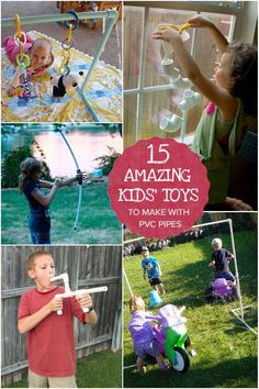 From DIY baby gyms to fall walls, play periscopes and marshmallow shooters to backyard water play these 15 fun and fabulous toys to make with PVC pipes.