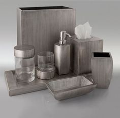 Gail Deloach Bath Accessories . Gail DeLoach Brushed Platinum Lacquer Bath Collection