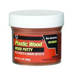 DAP PLASTIC WOOD Wood Putty is an easy-to-use, non-hardening wood putty that quickly repairs holes and minor defects in interior surfaces after assembly and finishing. It is recommended for filling and Brown Wood, Walnut Wood, White Wood, Wood Wood, Kitchen Surface, Wood Putty, Wood Countertops, Wood Interiors, Light Oak
