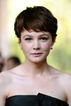 """Love this color with the wispy, feminine pixie cut!  """"20 Best Carey Mulligan Pixie Cuts"""""""