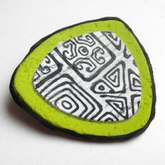 Green Brooch, Retro 1970s Lime Green Pin,Gift for Her, Unusual Brooch