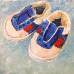 Art by Marcela Strasdas - Felipe's First Shoes - - Oil on Canvas Oil On Canvas, Baby Shoes, Smile, Art, Painted Canvas, Baby Boy Shoes, Smiling Faces, Kunst, Kid Shoes