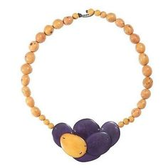 Isabela Seed and Tagua Necklace in Plum - Faire Collection