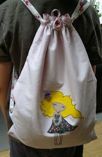 Worek plecak z aplikacją - Drawstring bag with applique