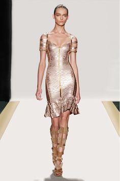 Rose gold metallic dress by Herve Leger, Spring 2012
