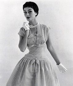 Anne Gunning modeling a dress made of Sekers fabric...photo by John French, 1955