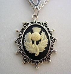 Outlander Celtic Teardrop Hidden Scottish Thistle Antique Silver Necklace www.jjcollections.com