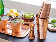 This hammered copper bar set makes a life long handsome gift for the college grad. Copper Bar, Hammered Copper, College Graduation Gifts, Graduation Ideas, Recent Discoveries, Gifts For Cooks, Bar Set, Moscow Mule Mugs, Barware