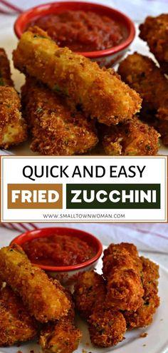Deep Fried Zucchini, Fried Zucchini Recipes, Zucchini Fries, Veggie Recipes, Appetizer Recipes, Vegetarian Recipes, Healthy Recipes, Breaded Zucchini, Vegetarian Cooking