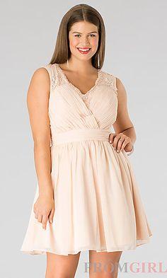 898027834b4 Short Sleeveless V-Neck Plus Size Dress at PromGirl.com Curvy Girl Fashion
