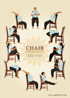 Surya Namaskar on Chair - for Arthritis and other condtions.  Nice sequence!  YogawithGAileee