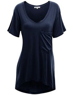 Doublju Womens Loose Fit U-Neck Long T-shirt with a Pocket at Amazon Women's Clothing store: