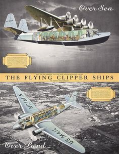 Lot 353: Old 1930s Pan Am Flying Clipper Travel Poster 2 Sided - PosterConnection Inc. | AuctionZip