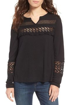 Free shipping and returns on Hinge Lace Inset Top at Nordstrom.com. Delicate lace insets offer a glimpse of skin in a lightweight peasant top fashioned with an easy split neckline and pretty ruffles.