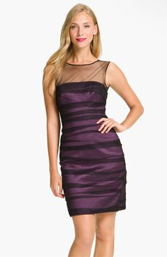 JS Collections Shirred Illusion Yoke Sheath Dress available at #Nordstrom