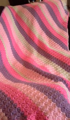 Pink Crochet Afghan Baby Blanket by ChrystalLuvCrafting on Etsy, $39.00