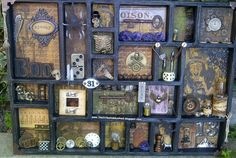 The Little Shabby Shed: Spooky Printers tray! Altered Boxes, Altered Art, Holidays Halloween, Halloween Crafts, Halloween Shadow Box, Box Art, Art Boxes, Assemblage Art, Artist Trading Cards