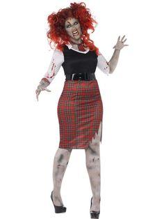 Women's Plus Size Curves Zombie School Girl Costume