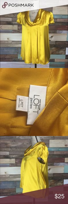 "Golden Loft Silk Blouse - Lp Golden Loft Silk Blouse - Lp   This lovely blouse is so beautiful and has the perfect pleats in just the right areas to make you look fabulous  Bust (Laying flat): 20"" Length: 23.5"" 100% Silk   #woodsnap #goldenyellow #yellow #golden #silk #loft #blouse LOFT Tops Blouses"