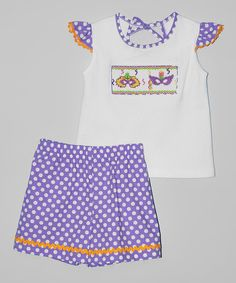 Look at this #zulilyfind! White Mask Top & Purple Dot Shorts - Infant, Toddler & Girls by Silly Goose #zulilyfinds