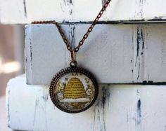 Beehive pendant - glass domed necklace - pendant jewelry