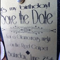 Birthday save the dates. For 1940's red carpet party