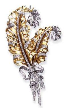 Doris Duke Jewelry Collection - Retro Diamond and Gold Feather Brooch, by Fulco Di Verdura for Paul Flato 1935