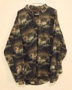 Mens Western Woodland Trail Size XXL Long Sleeve Button Front Shirt Bird Hunt #WoodlandTrail #ButtonFront