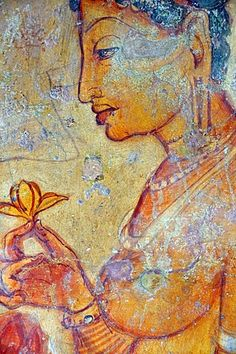 Cloud maiden, fresco on cave wall, 5th Century, Lion Rock, rock fortress, UNESCO World Heritage site, Sigiriya, Sri Lanka, Asia