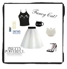 """""""Fancy Cat!!!🐱💄🎀"""" by chubbykitty ❤ liked on Polyvore featuring MAC Cosmetics, Huda Beauty, Kate Spade, Boohoo and Chicwish"""