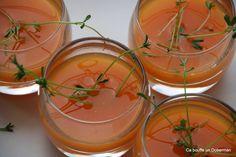 Soupe froide de Carottes à l'Orange et Germes de Lentilles  Cold carotts and orange soup for appetizer