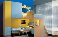 60 Excellent Teen Bedroom Design Ideas: 60 Excellent Teen Bedroom Design Ideas With Blue Yellow Study Desk And Wooden Floor Design Blue Bedroom Walls, Bedroom Sets, Home Bedroom, Bedroom Decor, Kids Bedroom, Wall Decor, Modern Teen Bedrooms, Teen Girl Bedrooms, Awesome Bedrooms