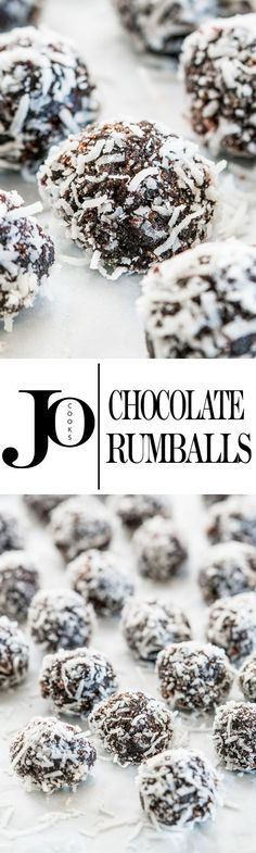 These Chocolate Rumballs coated in shredded coconut are a delightful bite sized treat sure to make you want to reach for another and another.