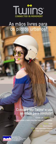 TWIINS - As mãos livres para os pilotos urbanos! O melhor de tudo é que coloca o seu Twiins no capacete e usa as mãos - apenas para conduzir! Acredite que existe um Twiins que corresponde a cada uma das suas necessidades. Do que está à espera para ter o seu Twiins? Vá já a um agente perto de si! E desfrute das viagens!  #lusomotos #Twiins #mãoslivres #Kitmãoslivres #necessidades #condução #segurança #qualidade #falarcomopassageiro #ouvirmúsica #música #falar #atenderchamadas #telefone #gps