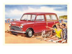 Family Beach Outing with Car Premium Poster at Art.com